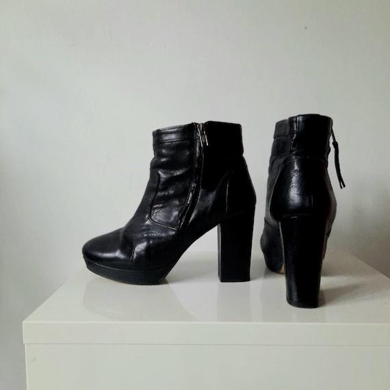 Y2K Leather Platform Block Heel Boots, Black, Size