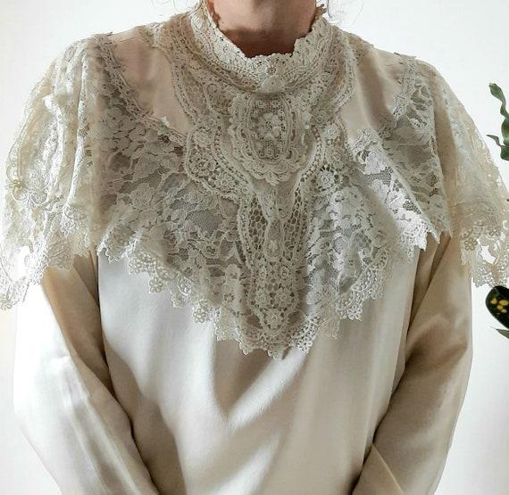 Vintage 70s Huge Statement Collar Blouse, Silk & l