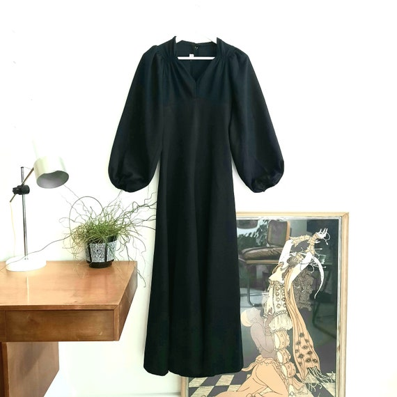 Vintage 70s Huge Statement Puff Sleeve Maxi dress,