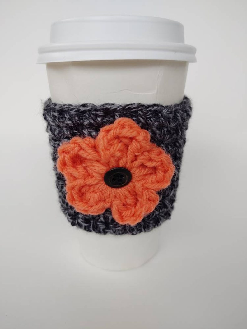 Flower Cup Cozie Spring gifts   Mothers Day gifts summer Grey w/ Coral Flower