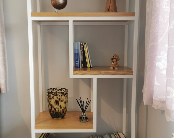 Steel and Oak quirky modern industrial shelving unit, storage shelves by STOAKED - Customisable