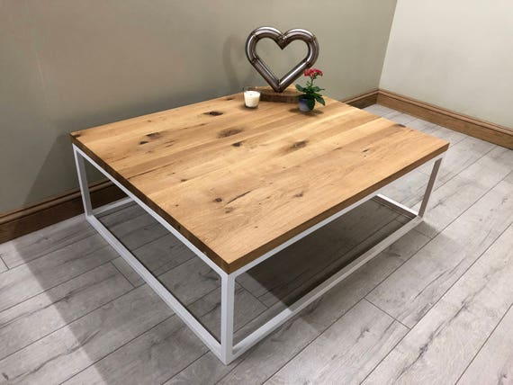 Coffee Table made from Steel & Solid Oak - Industrial Furniture by Stoaked - Customisable