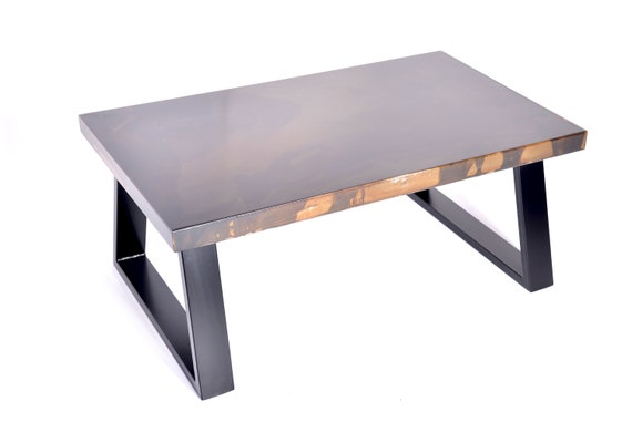 Coffee table with patinated rectangle shaped steel top, powder coated legs modern industrial furniture from Stoaked