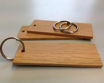 Keyrings blank solid oak wooden custom sizes quantities wholesale engrave print
