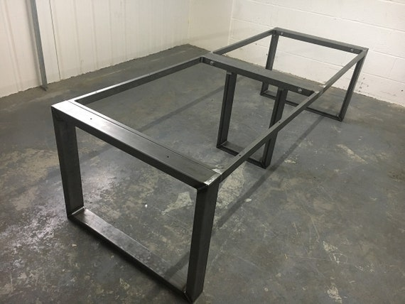 Rectangle table legs with top support section for dining table or office desk Industrial steel by STOAKED - Customisable