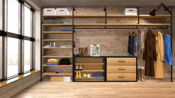 Modern Industrial open plan closet, wardrobe, hanging rail, shelving, shoe storage, drawers, steel and oak fully customisable to your room