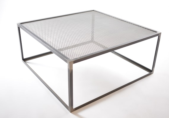 Industrial Coffee Table made from mild steel angle with steel mesh powder coated - By Stoaked