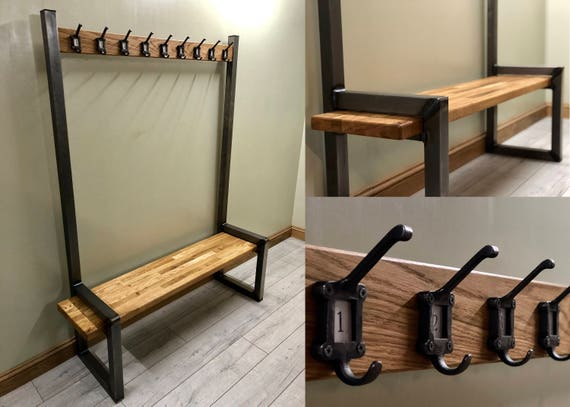 Industrial hallway steel bench with coat rack / rail made from steel and oak by STOAKED - Customisable