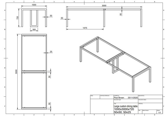 Table frame as per drawing + 3 pairs of metal brackets