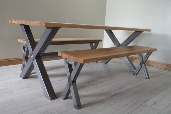 X  shaped dining table / bench made from solid oak and steel