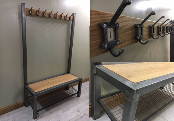 Industrial hallway steel bench with shoe / boot storage and oak seat / coat rack / rail by Stoaked - Customisable