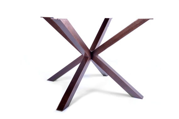 Cross shaped interlocking legs powder coated for wood, stone or granite dining table or desk top made from 60x60mm ERW steel box section