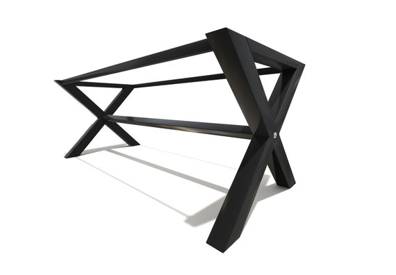 X shaped Industrial steel table frame / legs with top support by STOAKED powder coated finish - Customisable