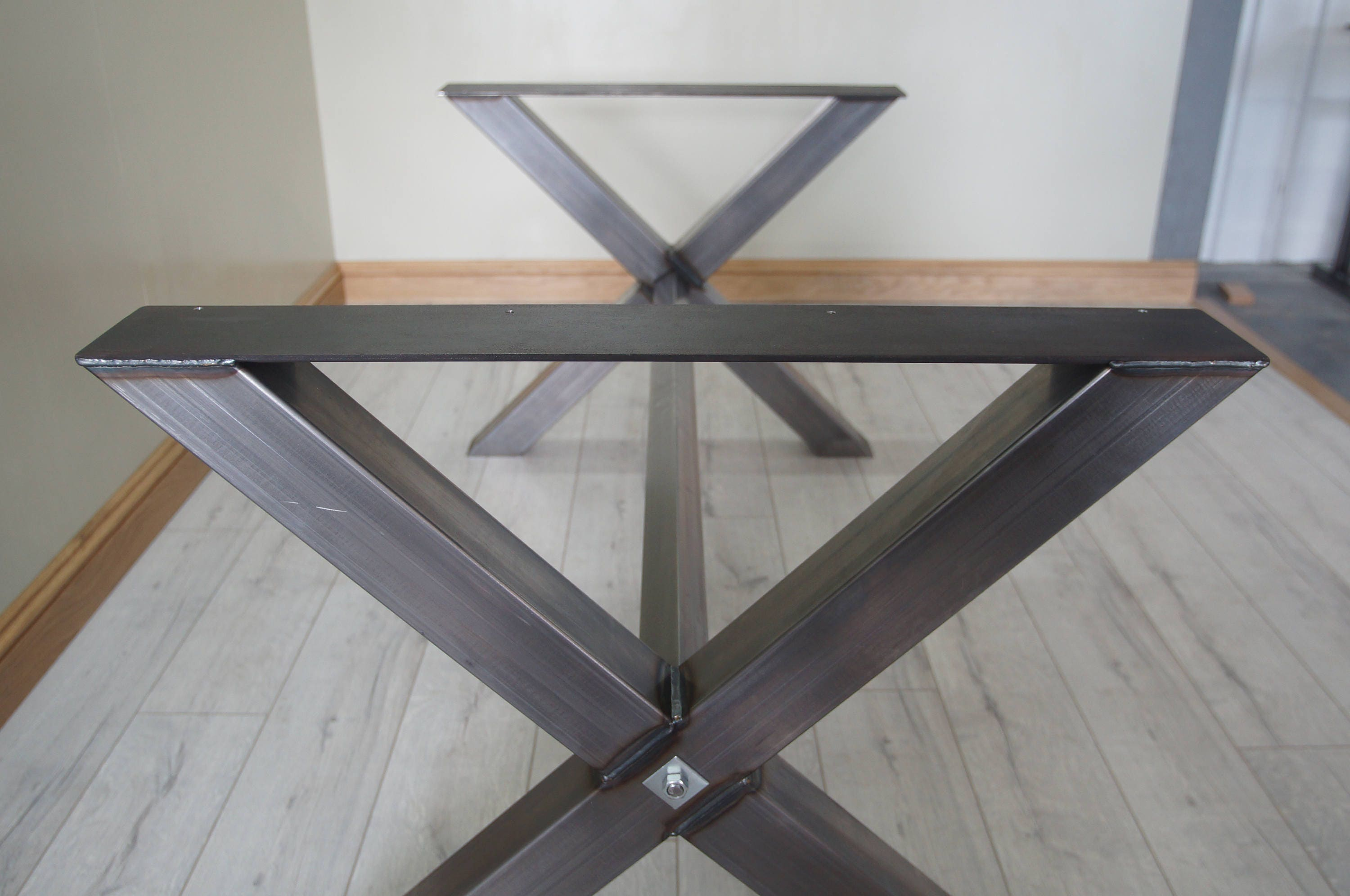X Shaped Table Bench Legs With Center Bar Customisable