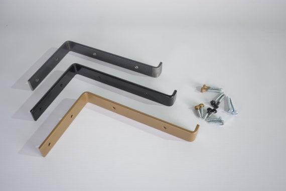 Metal Shelving Bracket for Floating Wall Shelf, Modern Industrial Minimalist Decor , Metal, Black or Bronze Powder Coated.