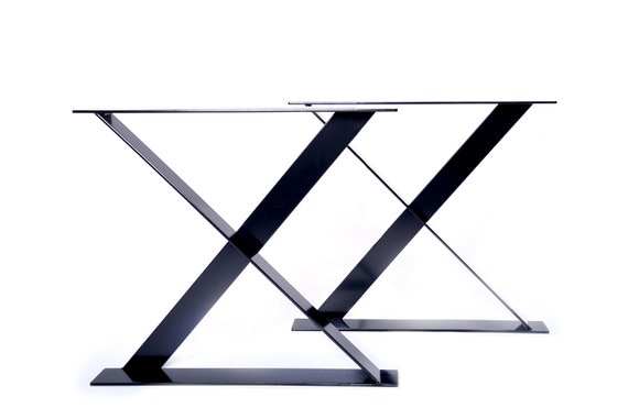 X shaped flat bar metal steel dining / coffee / bench / office desk powder coated table legs by STOAKED