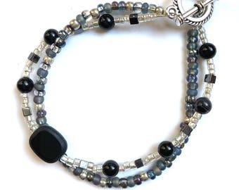 Smokey Gray and Black 2 double strand beaded bracelet