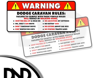 """Rules Warning Safety Instruction Funny Sticker Decal 2 PK 5/"""" Voyager"""