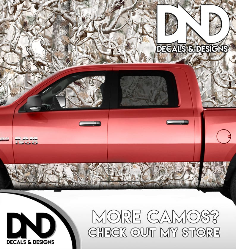 Camo Buck Skull Snowy Rocker Panel Wrap Graphic Decal Kit Truck Snow Camouflage