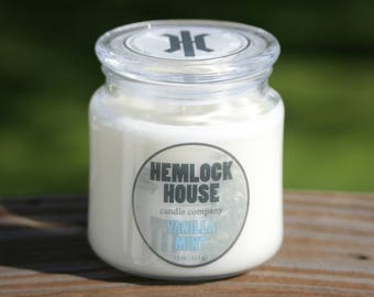 Vanilla Mint -- 15oz Jar Candle -- DYE FREE! 100% Soy Wax