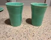 Fiestaware Turquoise Water Tumblers (2) vintage