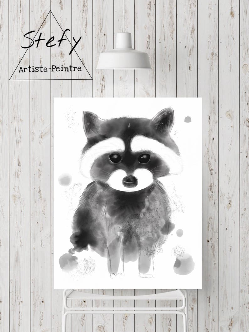 Quote Des Artistes Peintres raccoon illustration, raccoon poster, black and white animal, raccoon  poster, reproduction paper, child room, stefy, stefy artiste