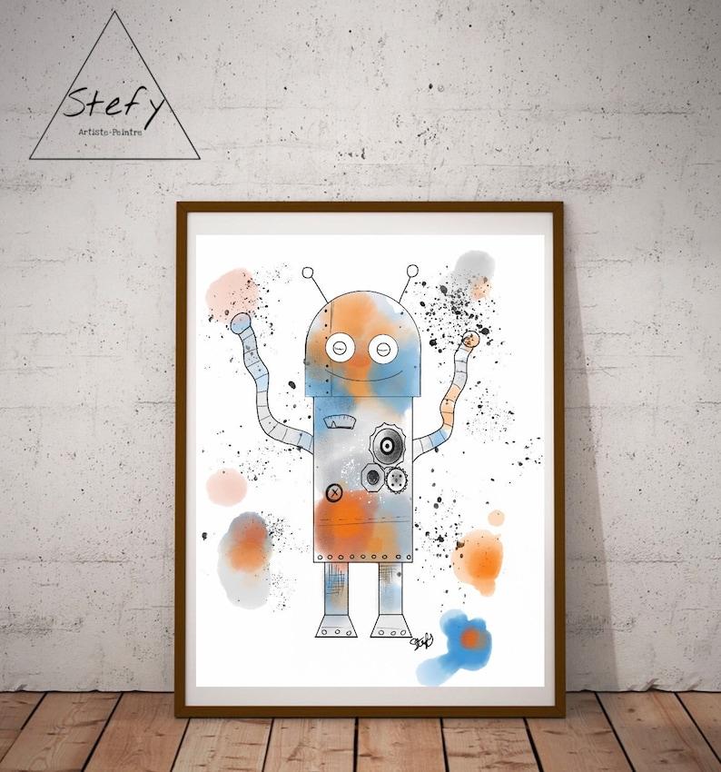 Illustration Robot Robot Aquarelle Chambre Enfant Affiche | Etsy