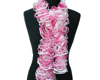 Pink and White Ruffle Scarf, Ladies Scarf, Fashion Accessory, Lacy Scarf, Summer Scarf, Hand Knitted Scarf, Gift for Her
