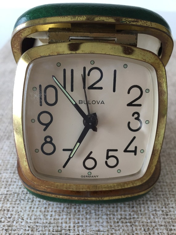 Vintage Bulova Travel Alarm Clock With Green Faux Leather Case Etsy