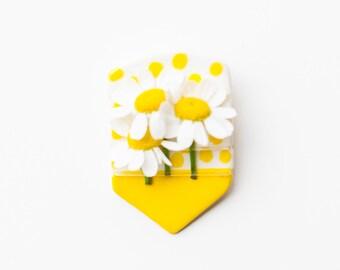 Ceramic white and yellow fresh flower boutonniere pin.