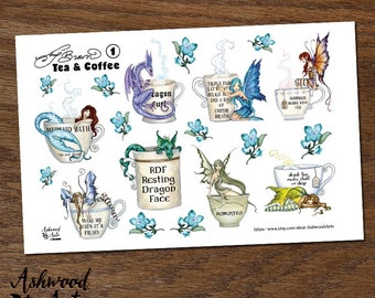 Amy Brown Tea and Coffee Stickers Ashwood Arts