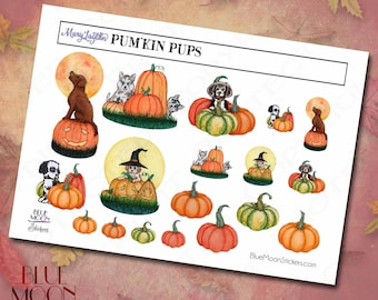 Mary Layton Pum'kin Pups pumpkins and puppies Stickers