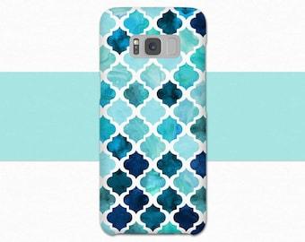 Blue Morrocan Galaxy S8 Case, Morrocan Samsung Galaxy S7 S6 S9, Blue Watercolor Galaxy Case, Galaxy S9 Case, A3 Case, Samsung Galaxy S8 Plus