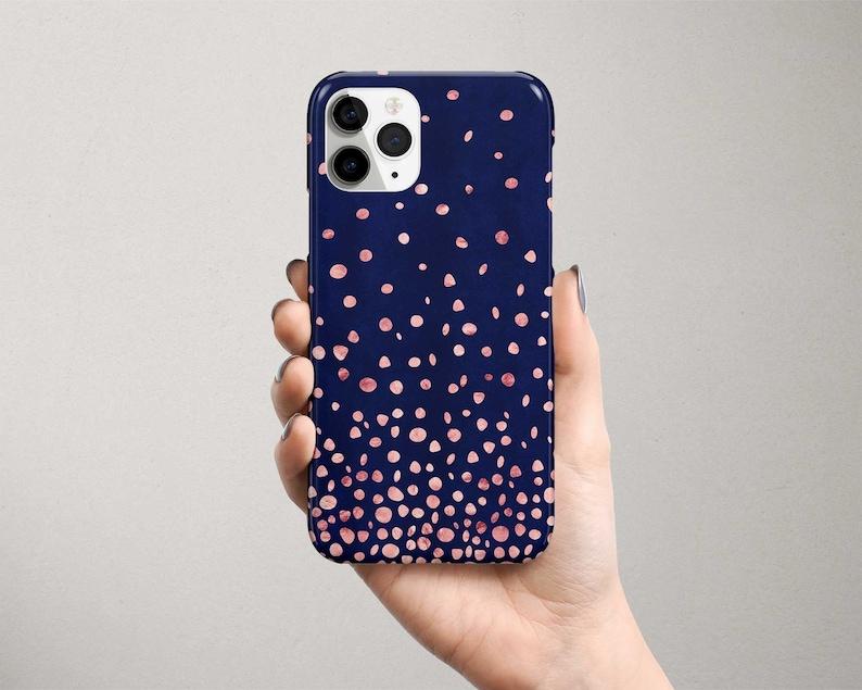 Rose Gold Google Pixel Phone Case Confetti Pixel Case Blue image 0