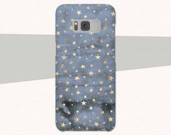 Blue Gold Stars Galaxy S8 Case, Blue Samsung Galaxy S8 S7 S6 Galaxy A3 Case, A5 Case, Pretty Galaxy S9 Phone Case Samsung Galaxy S8 Plus