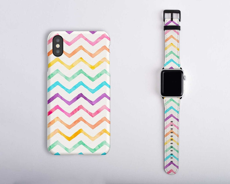 pretty nice ca2b6 c4be9 Rainbow Apple Watch Band with Matching iPhone Case Set Pastel Rainbow Apple  Watch 38mm Band White Series 4 3 2 1 40mm 42mm 44mm LGBTQ Pride