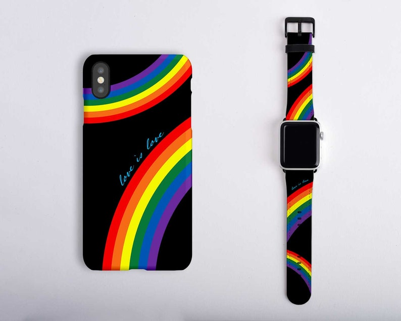 competitive price 55050 92eb7 Apple Watch Gay Pride Band with Matching iPhone Case Set Love is Love  Rainbow Apple Watch Band Black 4 3 2 1 LGBTQ Pride iPhone XS Case XR 8