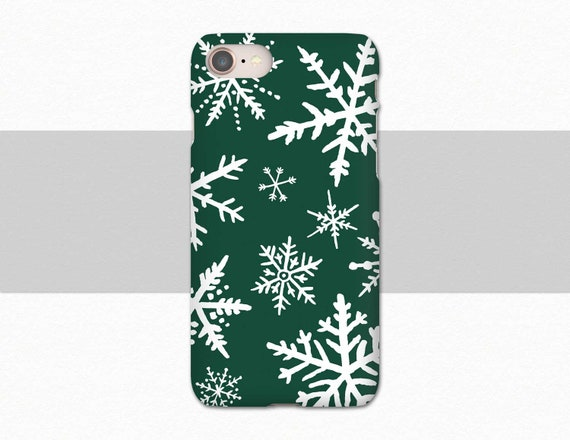 Green Iphone 8 Plus Case Snowflake Phone Case Winter Holiday Iphone Xs Max Samsung Galaxy S9 Case Snow Iphone 7 Case Christmas Gift Iphone 6