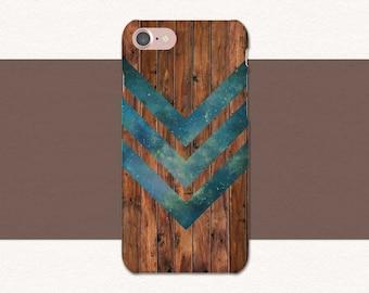 Wood iPhone Case, Green Chevron Phone Case, iPhone 7 Case Wood, iPhone 6 Case Wood, iPhone SE, 7 Plus, 6 Plus, 6S Plus Wood Phone Case