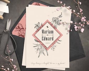 Einladung Zur Hochzeit   Vintage Einladung   Botanic Und Retro Look
