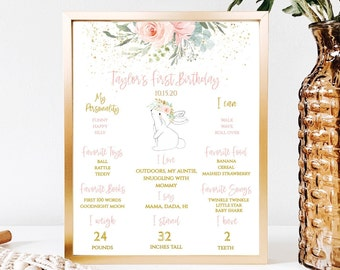590 Easter Floral Flowers first party chalkboard white chalk board banner milestone girl Some Bunny First Birthday board sign poster
