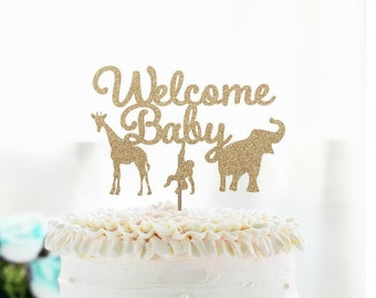 Glitter Welcome Baby Cake Topper