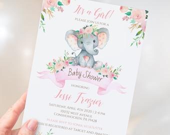 Elephant Baby Shower Invitation Girl, Baby Elephant Girl Baby Shower Invite, Baby Shower invite, Baby Girl, Elephant Theme, Digital, pm004