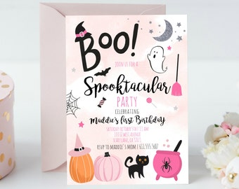 Halloween Pink Ghost Birthday Invitation. Cute Spooky Witch Birthday Party. Spooktacular Halloween Party, H001