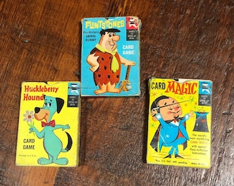 Vintage FLINTSTONES CARD GAME Complete Prehistoric Animal Dinosaurs Cartoon Characters Fred,Barney Rubble,Wilma,Dino,Baby Puss,Wooly Mammoth