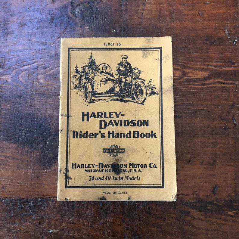 HARLEY DAVIDSON Riders Handbook, Model 74 and Model 80, Harley Davidson  Motorcycle Book, 1945 Revised Edition, Vintage Ephemera