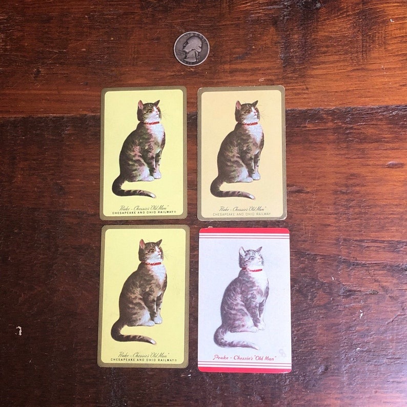 Chessie Cat Cards Lot of 4 Chessie Playing Cards Vintage Playing Cards