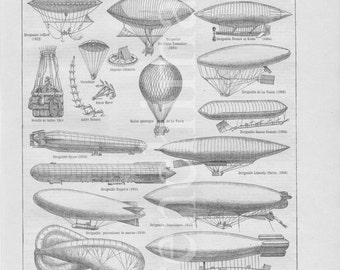 1920's french vintage original print aeronautics Balloon Montgolfiere Blimp airship glider aeroplane Faucher Gudin