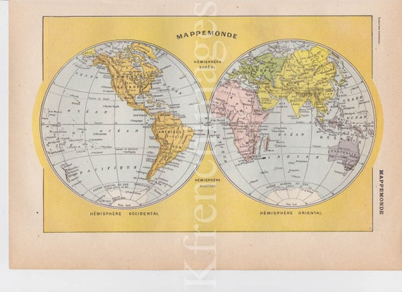 French vintage Planisphere World Map original color print history framable  wall art poster 1920 geography educational cabinet of curiosity