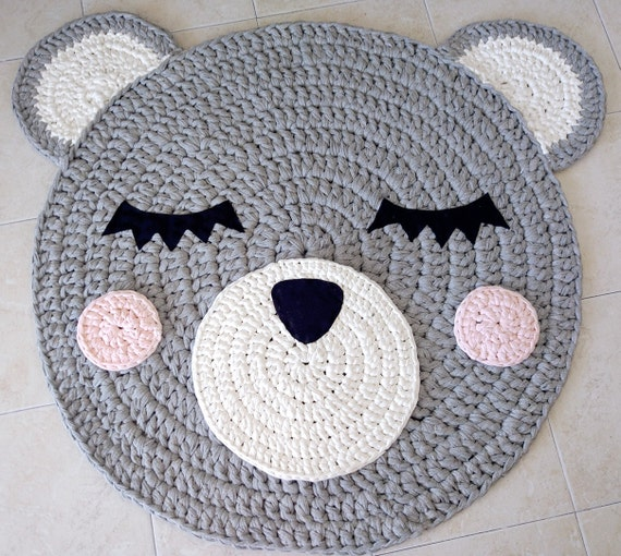 Bär Häkeln Teppich Bär Teppich Handgefertigten Teppich Etsy